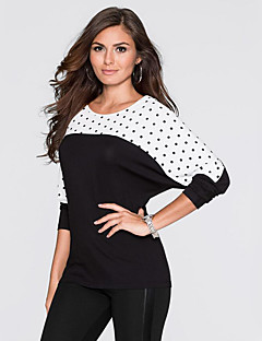 Women's Casual/Daily Street chic Spring / Fall T-shirt,Polka Dot Round Neck Long Sleeve Black Cotton Medium