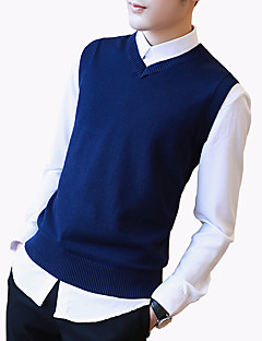 Men's Fashion Solid V Neck Casual Slim Fit Knitting Vest;Causal/Solid