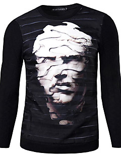 Men's Print Casual Pullover,Cotton Long Sleeve Black