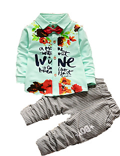 Boy's Casual/Daily Floral Clothing Set,Cotton Fall Blue / Green / Pink / White