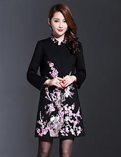 Alkalmi / Nagy méretek Kínai Tavaszi / Őszi-Női Kabát,Egyszínű / Hímzett Állógallér Hosszú ujj Fekete Pamut / PoliészterKözepes
