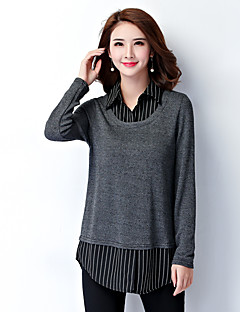 Women's Plus Size / Work Simple Fall Shirt,Striped Pullover Shirt Collar Long Sleeve Gray Rayon / Polyester Medium