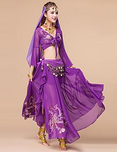 ריקוד בטן תלבושות בגדי ריקוד נשים ביצועים סאטן שיפון רקמה נצנצים 3 חלקים שרוול ארוך טבעי חצאית סט חזייה ותחתונים חגורה 93