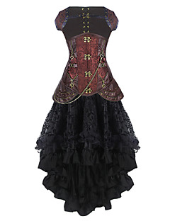 Burvogue Women's Gothic Leather Steel Boned Steampunk Underbust Corset Dress