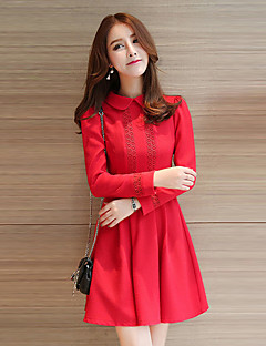 Women's Casual/Daily Simple Sheath Dress,Patchwork Peter Pan Collar Above Knee Long Sleeve Blue / Red Cotton Fall