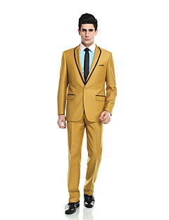 Tuxedos Tailored Fit Notch Single Breasted One-button Viscose/ Wool & Polyester Blended Solid 2 Pieces Yellow