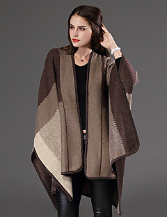 Women's Plus Size /Long Cloak / Capes,Patchwork Blue / Red / Brown / Gray V Neck Long Sleeve Wool / Cotton
