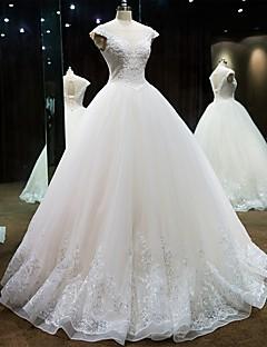 공주 웨딩 드레스 바닥 길이 스쿱 레이스 / 튤 와 비즈 / 레이스