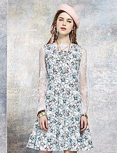 A-vonalú Ruha Női Egyszerű Alkalmi,Virágos Terített nyak Térd feletti Ujjatlan Kék / Lila Poliészter / Spandex Nyári