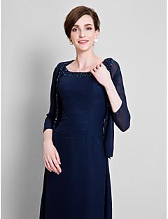 여성 숄 코트 / 재킷 3/4 길이 소매 쉬폰 다크 네이비 웨딩 / 파티/이브닝 넓은 칼라 39cm 구슬장식 오픈 프론트