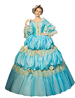 One-Piece/Dress Gothic Lolita Steampunk® / Victorian Cosplay Lolita Dress Sky blue Solid 3/4-Length Sleeve Long Length Dress For Women