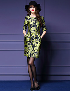 Women's Going out Street chic Sheath Dress,Print Round Neck Above Knee ½ Length Sleeve Green Polyester Fall