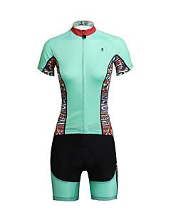 PALADIN® חולצת ג'רסי ומכנס קצר לרכיבה לנשים שרוול קצר אופנייםנושם / ייבוש מהיר / עמיד אולטרה סגול / 3D לוח / רצועות מחזירי אור / כיס