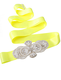 Satin Wedding / Party/ Evening / Dailywear Sash - Sequins / Beading / Pearls / Crystal / Rhinestone Women's Sashes
