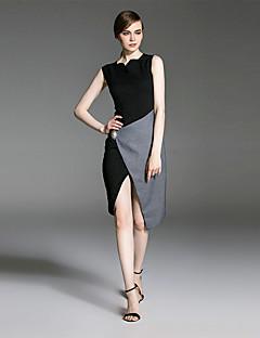 es Dannuo formale Cocktail der Frauen einfache Etuikleid, Farbblock asymmetrisch asymmetrisch ärmellos schwarz Baumwolle