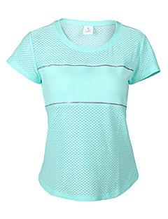 Mulheres Manga Curta Corrida Camiseta Pulôver Respirável Secagem Rápida Compressão Redutor de Suor Detalhes RefletoresPrimavera Verão