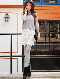 Naisten Yksiväriset Neulottu pitsi Leggingsit,Puuvilla Polyesteri Spandex