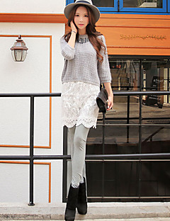 Ženy Jednobarevné Krajka Legging,Bavlna Polyester Spandex