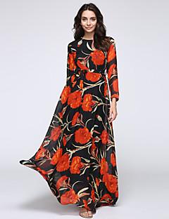 עקומת מתוק חצוצרת החוף של נשים / שמלת בת ים, טלאים לעמוד אביב סטרץ הכתום ארוך מקסי שרוול