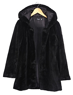 Women's Casual/Daily Street chic Large Size Fur Coat,Solid Hooded Long Sleeve Winter Black