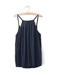 Damen Solide Sexy / Einfach Ausgehen Tank Tops,V-Ausschnitt Sommer Ärmellos Blau / Grau Baumwolle Dünn