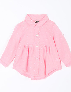 Baby Fritid/hverdag Bluse Ensfarget-Bomull-Høst-Rosa