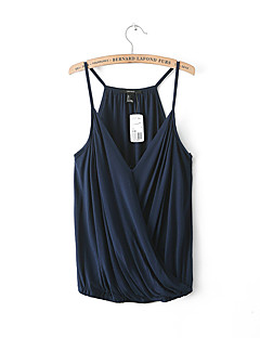 Women's Going out Sexy / Simple Summer Tank Top,Solid V Neck Sleeveless Blue / Gray Cotton Thin