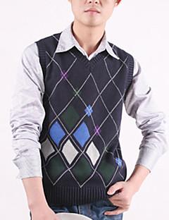 Men's Plaid Casual Cardigan,Cotton Sleeveless Black / Blue / White / Gray