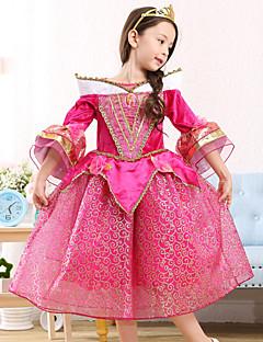 Ball Gown Tea-length Flower Girl Dress - Satin / Tulle Half Sleeve Scoop with Pattern / Print / Ruffles