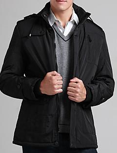 Pánské Bavlna Jednobarevné Obyčejný S vycpávkou Kabát Dlouhý rukáv