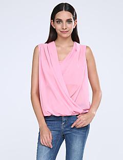 Γυναικεία Μπλούζα Καθημερινά Απλό / Χαριτωμένο Μονόχρωμο,Αμάνικο Λαιμόκοψη V Καλοκαίρι Λεπτό Πολυεστέρας Ροζ / Άσπρο / Πράσινο