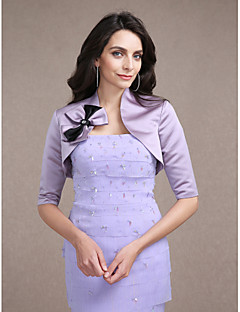 Wedding  Wraps Shrugs Half-Sleeve Satin Lilac Wedding Party/Evening V-neck Beading Bow Open Front
