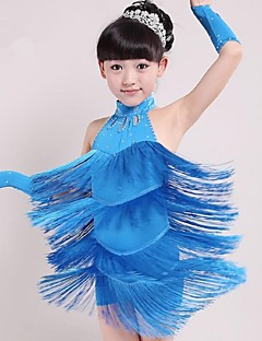Dança Latina Roupa Crianças Actuação Elastano Borla(s) 1 Peça Azul / Vermelho / Amarelo Dança Latina Sem Mangas Natural Vestidos