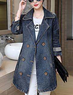 Feminino Jaquetas Jeans Happy-Hour / Casual / Tamanhos Grandes Simples Outono,Sólido Azul Algodão Colarinho de Camisa Manga Longa Média