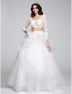 A-라인 웨딩 드레스 바닥 길이 스쿱 튤 와 아플리케