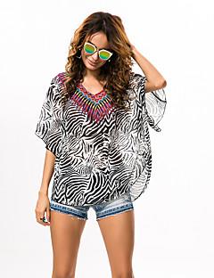 Damen Tierfell-Druck Boho Strand Bluse,V-Ausschnitt Sommer ½ Länge Ärmel Grau Polyester Dünn