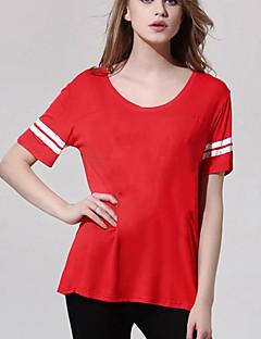 T-shirt Da donna Casual Semplice Estate,Tinta unita Rotonda Poliestere Rosso Manica corta Opaco