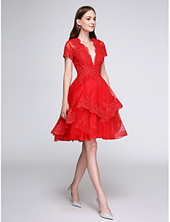 TS Couture Cocktail Party Prom Dress - Short A-line V-neck Knee-length Organza with Appliques Buttons