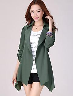 여성의 솔리드 셔츠 카라 긴 소매 트렌치 코트-심플 플러스 사이즈 블랙 / 그린 면 / 폴리에스테르 가을 중간