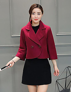 Women's Plus Size / Casual/Daily Street chic Spring / Fall Blazer,Solid Shirt Collar Long Sleeve Polyester Medium