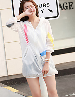 Women's Casual/Capes,Print Hooded Long Sleeve White Cotton Thin