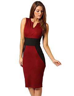 Damen Kleid - Hülle Einfarbig Knielang Baumwoll-Mischung Tiefes V