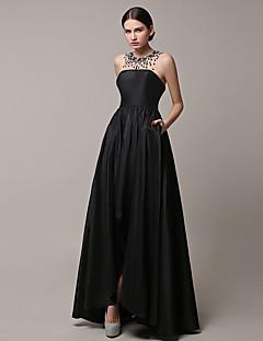 Formal Evening Dress A-line Jewel Asymmetrical Satin with Beading