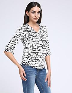 Vrouwen Eenvoudig Zomer Overhemd,Casual/Dagelijks Print Overhemdkraag Driekwart mouw Wit Polyester Dun