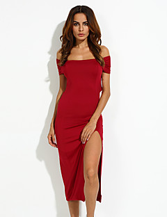 Damen Kleid-Bodycon / Swing Sexy Solide Maxi Baumwolle Bateau