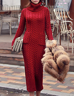 Women's Casual/Daily Simple Long Cardigan,Solid Red Turtleneck Long Sleeve Cotton Fall / Winter Medium