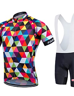 Sports Cycling Jersey with Bib Shorts Men's / Unisex Short Sleeve Bike Quick Dry / Front Zipper / Wearable / High Breathability (>15,001g)