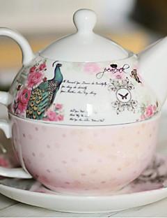 nieuwe bone china gift sets gift paar kopjes koffie beker heeft een pauw korte driedelige pot schotel