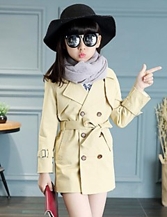 Girl's Casual/Daily Solid Trench Coat,Cotton Spring / Fall Brown / Green