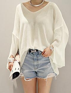 Women's Casual/Daily Simple Regular Cardigan,Solid White Round Neck Long Sleeve Acrylic Summer Medium Micro-elastic